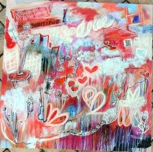 "HI BEAUTIFUL! 30""x30"" acrylics on gallery canvas"