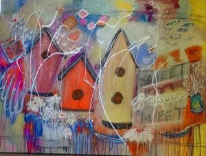 Playful Sweet Tweet acrylics on 36x48 canvas' $1200