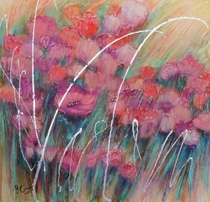 "ROMANTICA acrylics on canvas 36""x36"" $850"